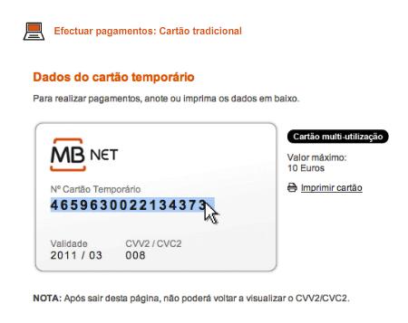 Visualizar CCV e número cartão MBNet